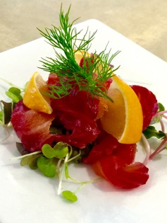 Beetroot Cured Salmon Dish