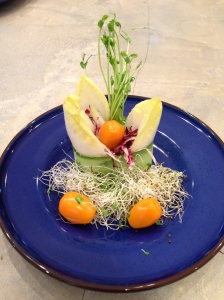 Endive with Orange Tomato and Onion Sprouts